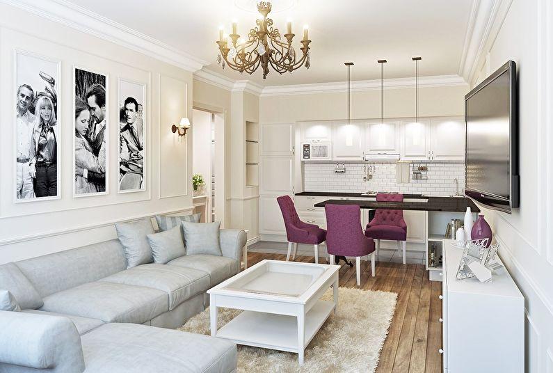 Aménagement intérieur d'une cuisine-salon dans un style classique - photo
