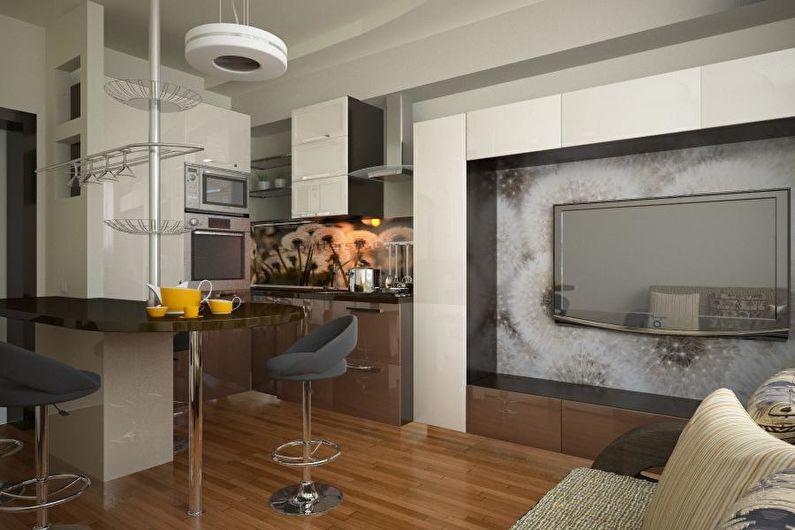 Aménagement intérieur d'une cuisine-séjour dans un appartement - photo