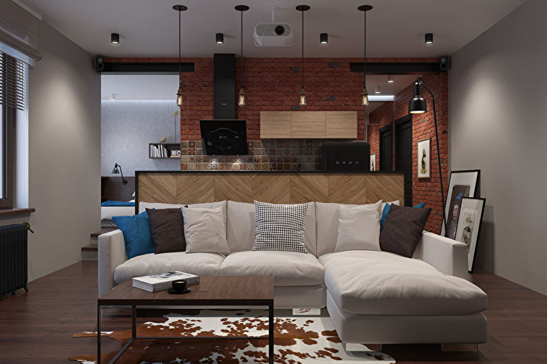 Aménagement intérieur d'une petite cuisine-salon dans le style loft - photo