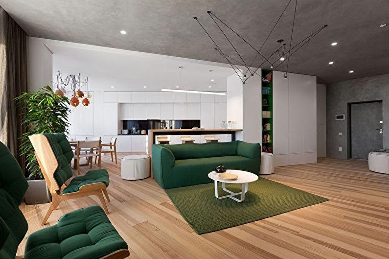 Aménagement intérieur d'une cuisine-salon dans le style du minimalisme - photo