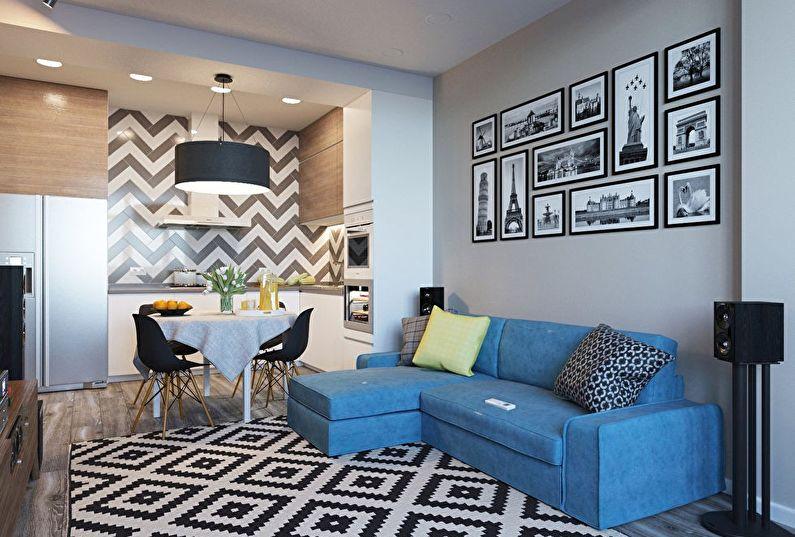 Aménagement intérieur d'une petite cuisine-salon dans un style moderne - photo