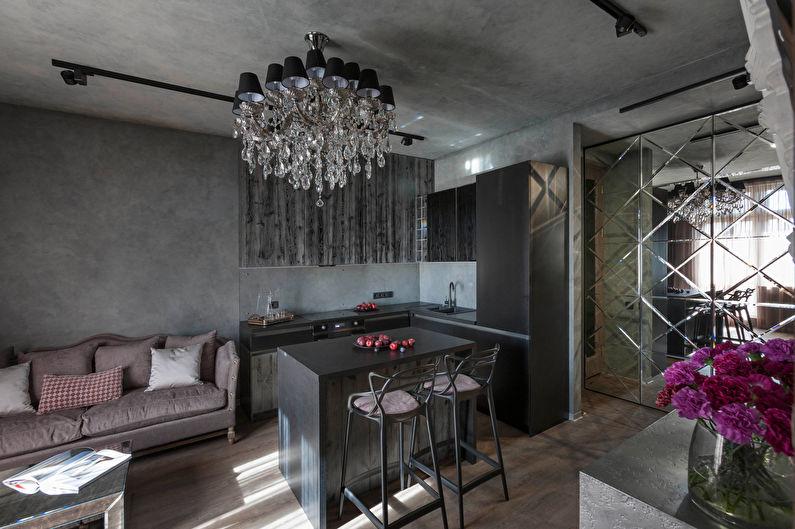 Aménagement intérieur de la cuisine combiné avec le salon, dans le style Art Déco - photo