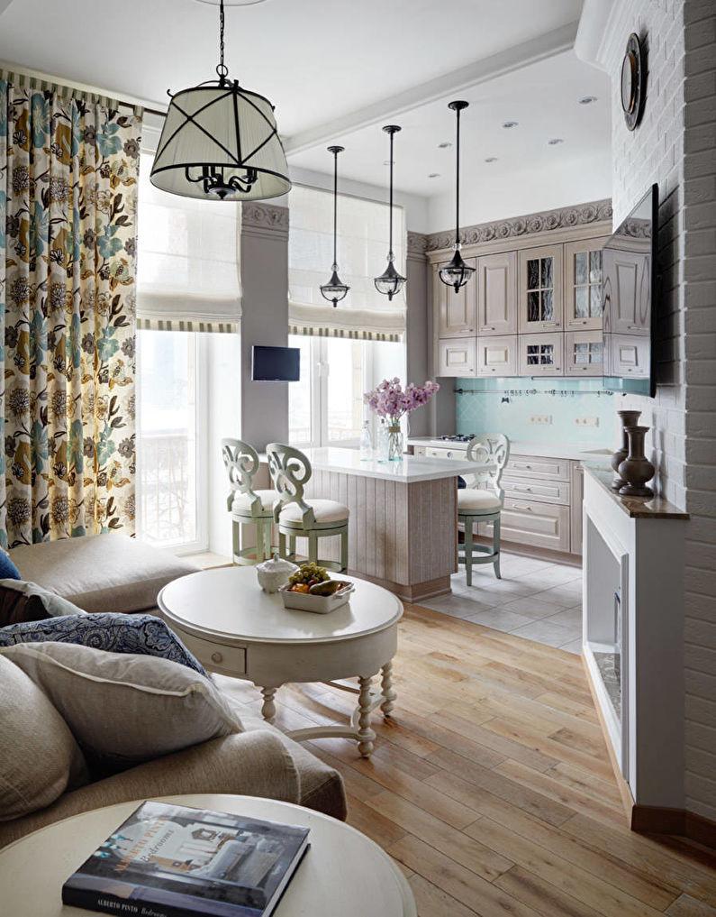 Aménagement intérieur d'une cuisine-salon - photo