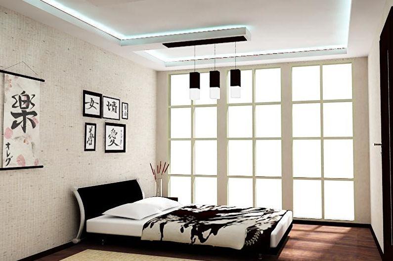 Chambre de style japonais noir et blanc - Design d'intérieur