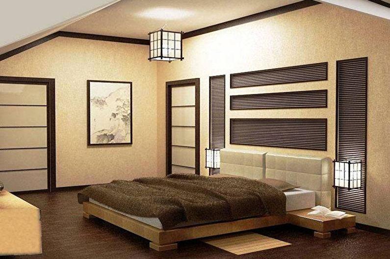 Chambre beige de style japonais - Design d'intérieur