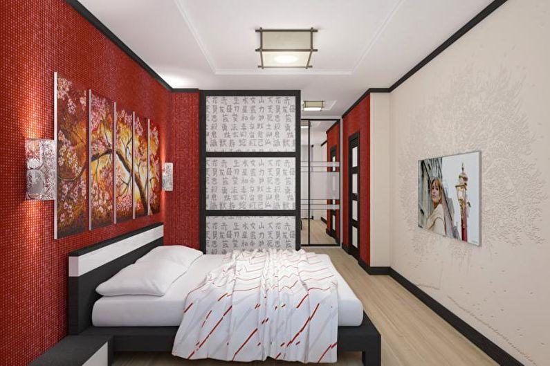 Chambre rouge de style japonais - Design d'intérieur