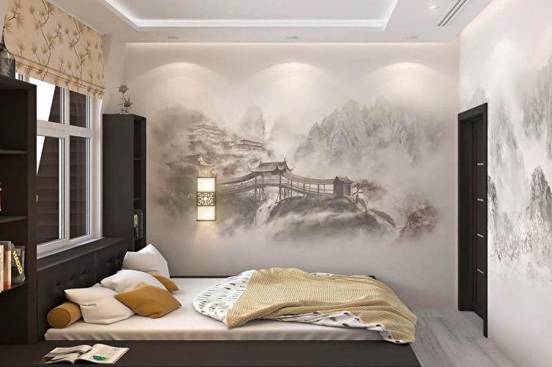 Conception de chambre de style japonais - décoration murale