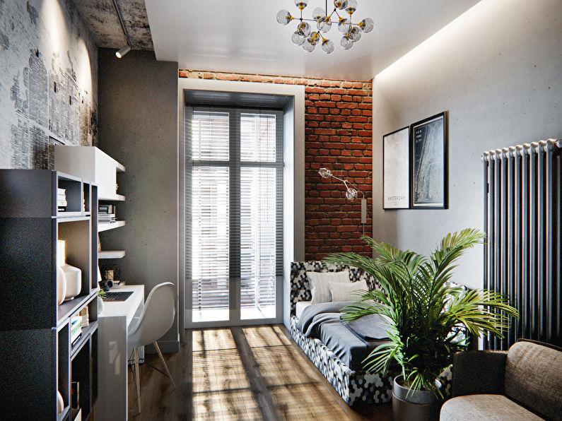 Chambre pour un étudiant étudiant dans le style loft