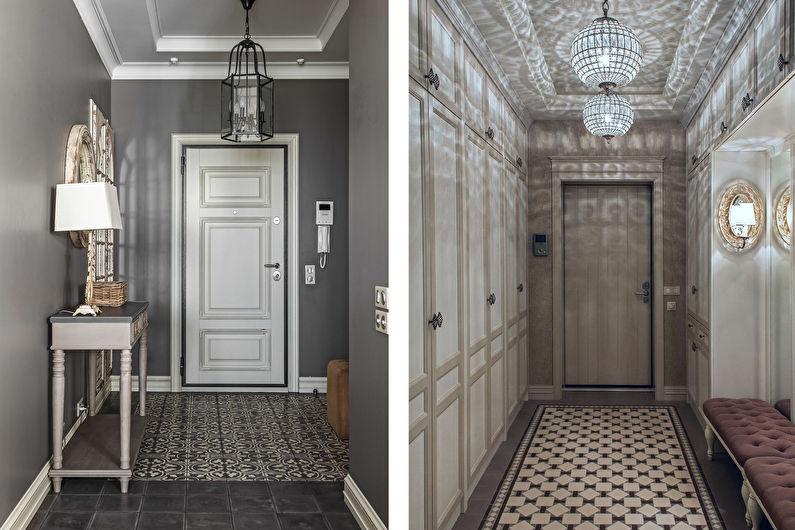 Conception de couloir classique - décoration et éclairage