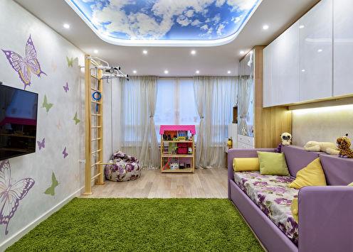 Plafond tendu dans une chambre d'enfant (65 photos)