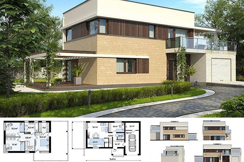 Conceptions de maisons modernes de style high-tech - Cottage à deux étages avec garage