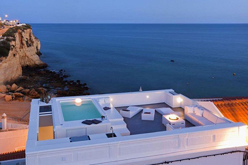 Conceptions de maisons modernes de haute technologie - Maison de haute technologie avec toit exploité