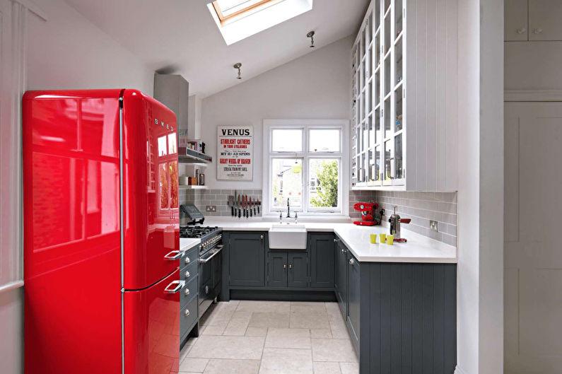 Cuisine 11 m2 dans un style rétro - Design d'intérieur