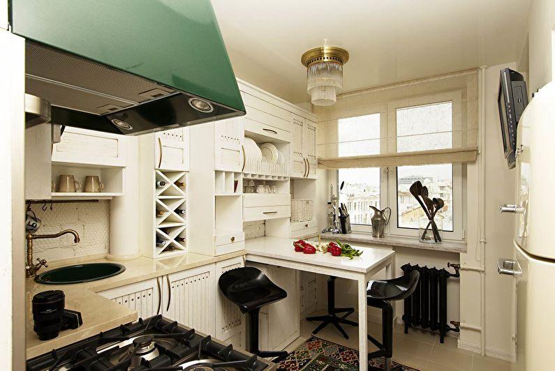 Cuisine blanche 11 m2 - Design d'intérieur
