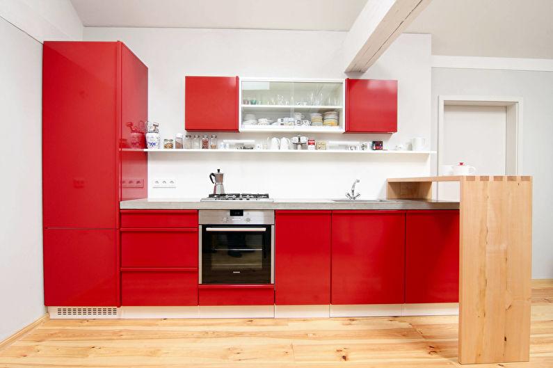 Cuisine rouge 11 m2 - Design d'intérieur