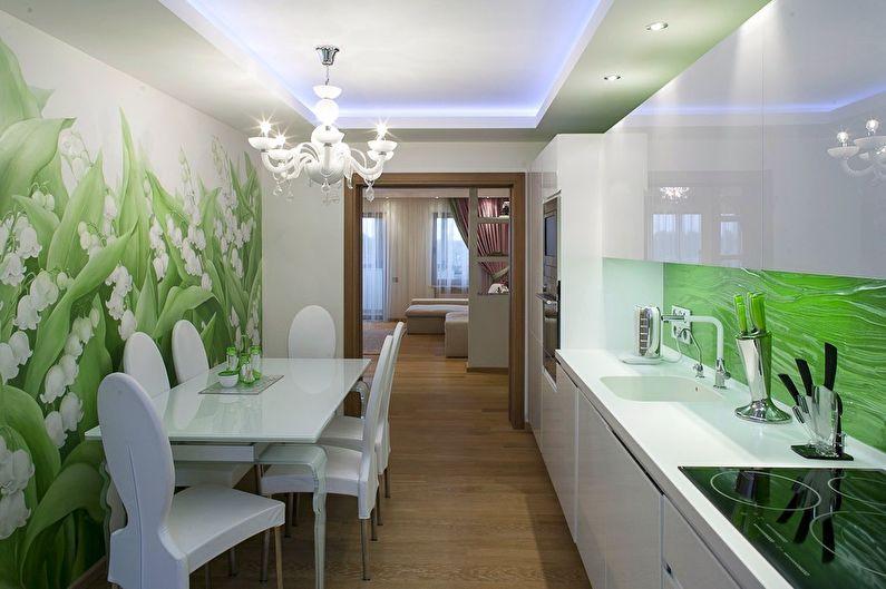 Cuisine verte 11 m2 - Design d'intérieur