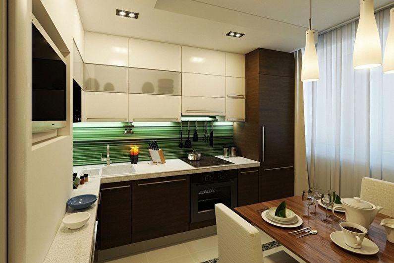 Cuisine marron 11 m2 - Design d'intérieur
