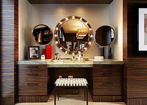 Miroir de maquillage avec ampoules (65+ photos)