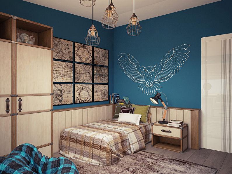 Intérieur de chambre d'enfant de style loft pour un adolescent