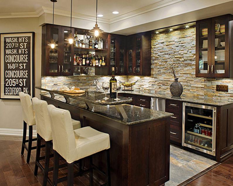 Pierre décorative à l'intérieur de la cuisine - photo