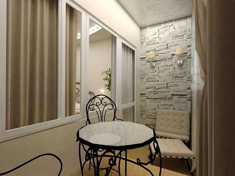 Pierre décorative à l'intérieur du balcon et de la loggia - photo