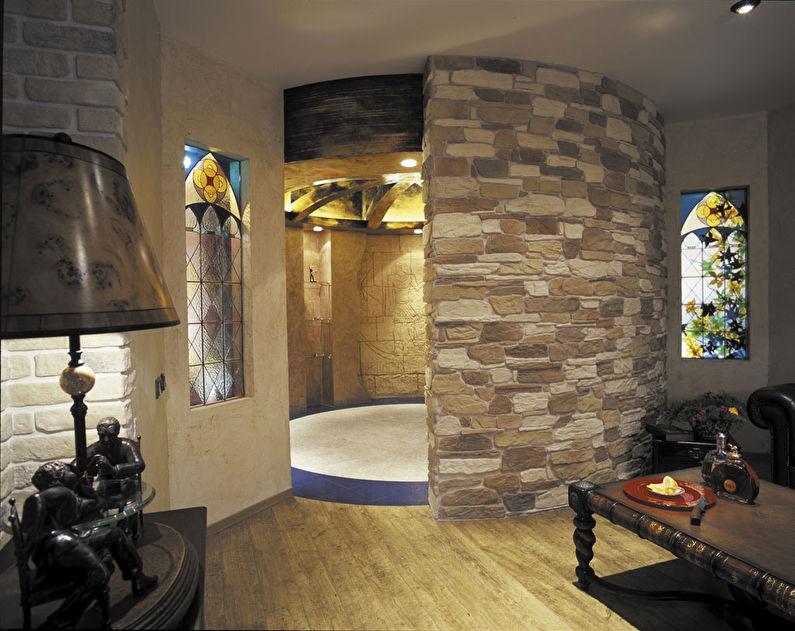 Pierre décorative à l'intérieur de la salle de bain - photo