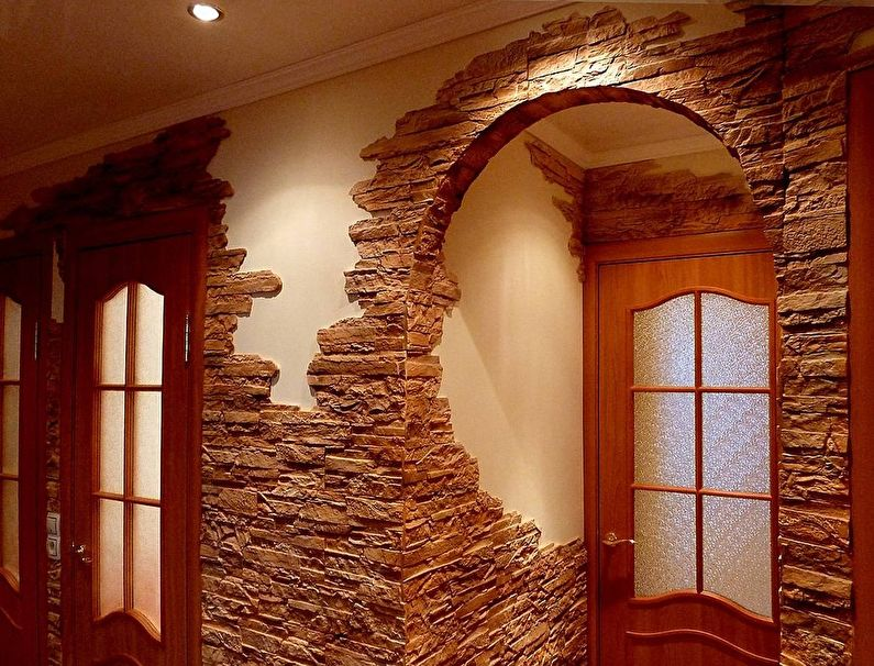 Décorer le couloir et le couloir avec de la pierre décorative - photo