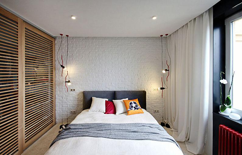 Conception d'une petite chambre dans le style loft - photo