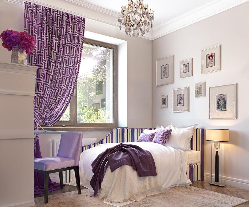 Conception d'une petite chambre dans des tons violets - photo