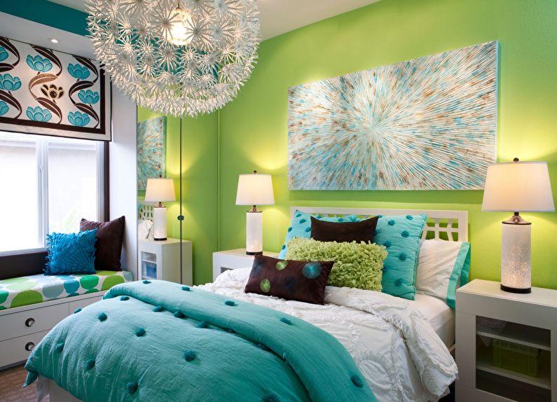 Conception d'une petite chambre aux couleurs vertes - photo