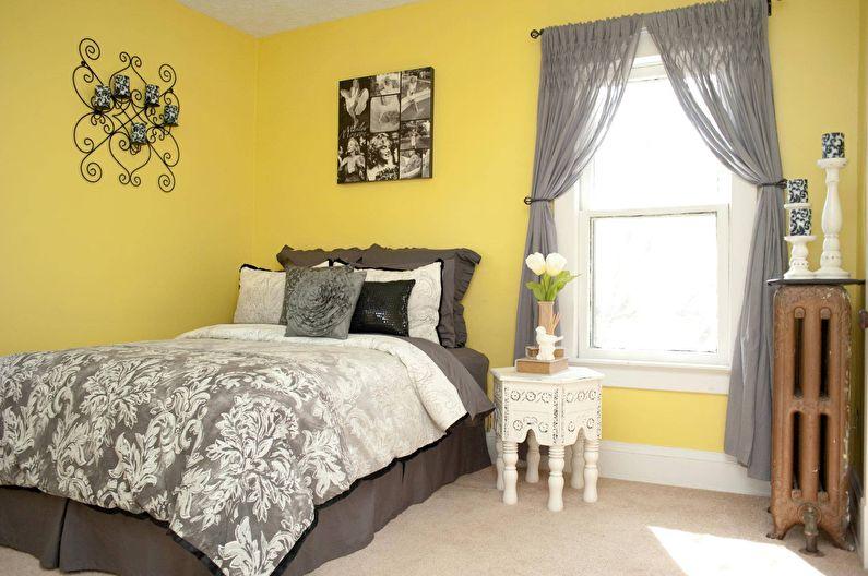 Conception d'une petite chambre dans des tons jaunes - photo