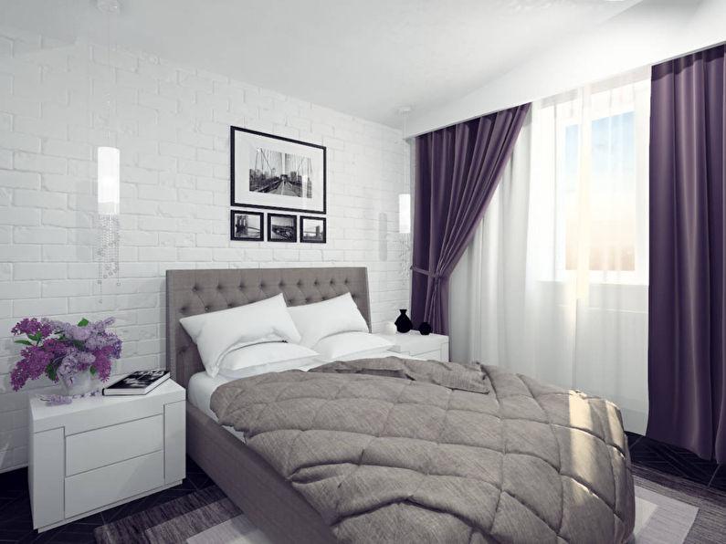 Agencement de meubles dans une petite chambre carrée - photo