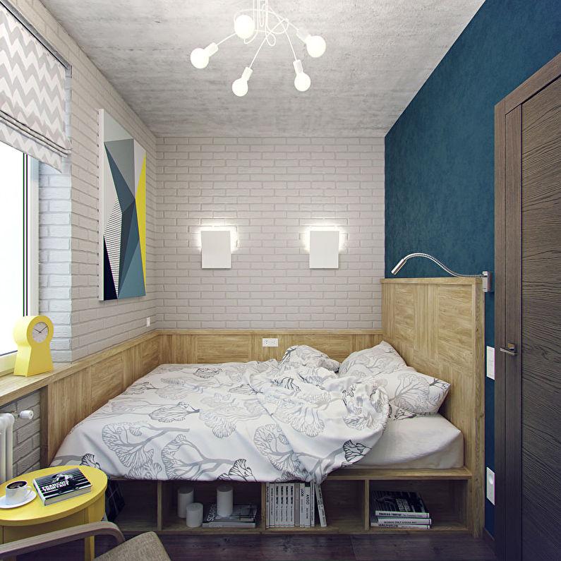 Agencement de meubles dans une petite chambre étroite (rectangulaire) - photo