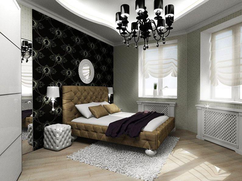 Agencement de meubles dans une petite chambre de disposition non standard - photo