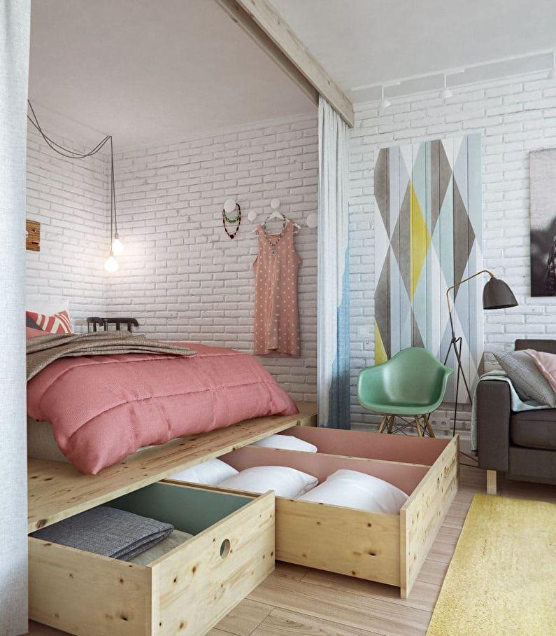 Conception d'une petite chambre à Khrouchtchev - photo