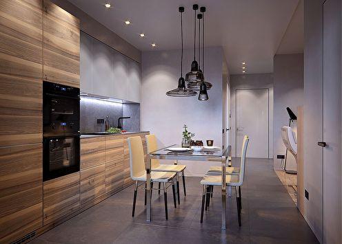 La décoration intérieure de l'appartement est de 50 m². dans le complexe résidentiel Riverside