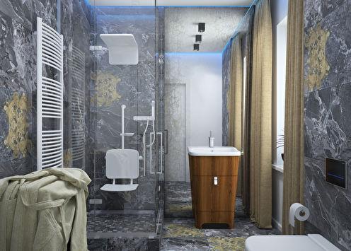 Salle de bain 6 m2 dans le style du minimalisme, Zhukovo