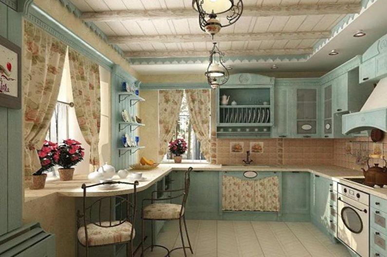 Cuisine 14 m2 dans un style champêtre - Design d'intérieur