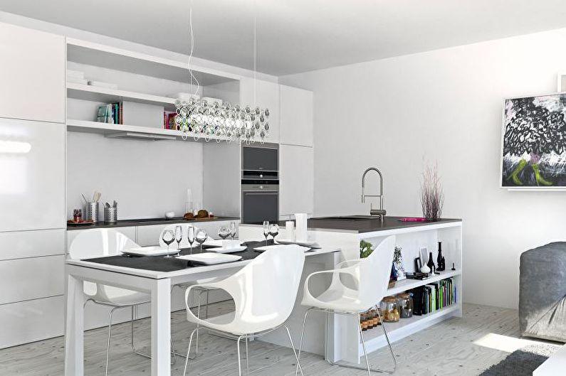 Cuisine blanche 14 m2 - Design d'intérieur