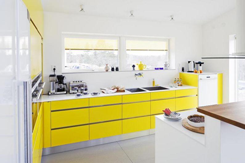 Cuisine jaune 14 m2 - Design d'intérieur
