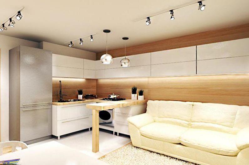 Conception de cuisine 14 m² - décoration de plafond