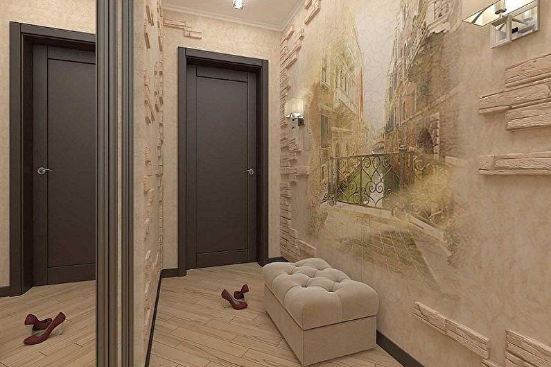 Conception de petit couloir - décoration murale